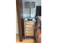 2 x bed side cabinets with lamps