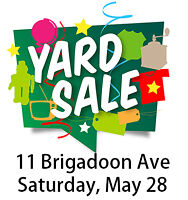 #### Yard Sale - 11 Brigadoon Ave - Sat May 28 - 8am to 1pm ####