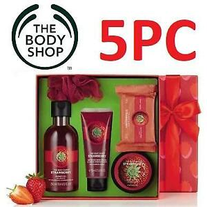 NEW BODY SHOP 5PC GIFT SET 219180867 STRAWBERRY COLLECTION ESTIVE PICKS CHRISTMAS XMAS HOLIDAY GIFTS PACK