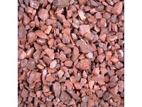Red garden and driveway chips