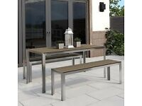 Garden Dining Table & Bench Set With Metal Frame And Wood Effect Finish
