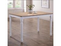 NEW Rhode Island shabby chic real wood farmhouse style dining table with white legs