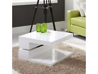 Tiffany White High Gloss Square Rotating Top Coffee Table