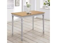 Rhode Island Rectangular 4 Seater Dining Table In Oak And Grey