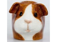 QUAIL Guinea Pig Face Egg Cup - Dutch (Brown & White) .... NEW
