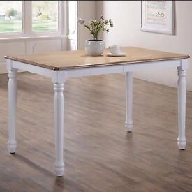 NEW in packaging Rhode Island farmhouse style dining table solid wood top white legs