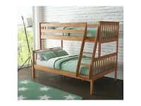 Oxford Triple Bunk Bed in Pine - Small Double