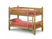 Pine bunk beds complete with quality mattresses