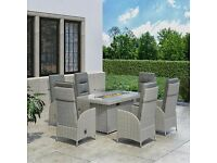 Garden Outdoor Grey 6 Seater Reclining Dining Set With Fire Pit Table