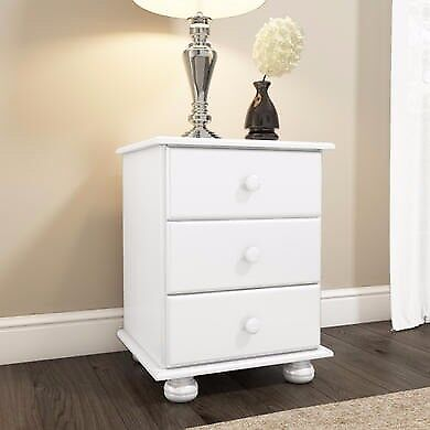 Hamilton 3 Drawer Bedside Table in White