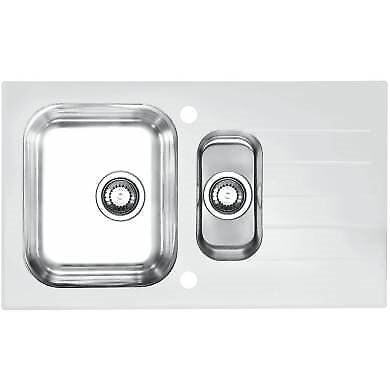 Glass/Stainless Stell 1.5 Bowl Kitchen Sink