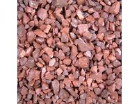 20 mm red garden and driveway chips/stones