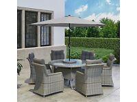 Outdoor Grey Rattan 6 Seater Garden Dining Set