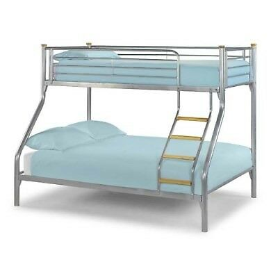 Triple Bunk Bed Double Bottom Single Top Includes Mattress Metal