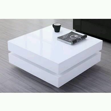 Coffee Table High White Gloss Led Lights