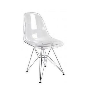 Clear chair ebay for Ikea clear dining chairs