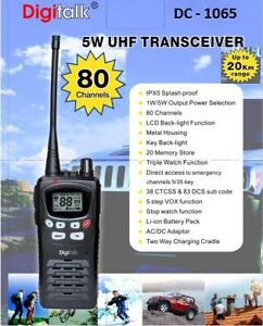 HANDHELD UHF Transceiver 5Watt 80 Channel - Digitech,Li-Ion Rechargeable Battery