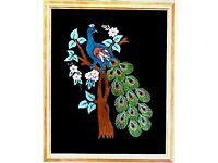 PEACOCKS EMBROIDERY ARTWORK PICTURE FRAMED