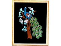PEACOCKS EMBROIDERY ARTWORK PICTURE FRAMED WALL HANGING FROM