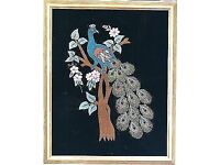 PEACOCKS EMBROIDERY ARTWORK PICTURE FRAMED FROM