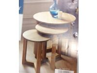 Nest of 3 Round Tables Stylish Modern Table Oak Effect For Sale Price: £69.99 FREE UK delivery