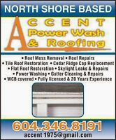 Accent Power Wash and Roofing***Roof De - moss**Gutters**Leaks**