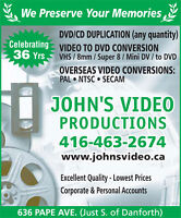 John's Video converts/transfers Hi8mm, MiniDV, VHS, Video to DVD