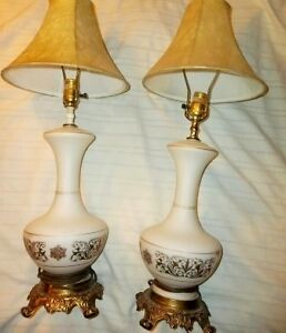 Vintage Glass & Brass Tri-Light Table Lamps London Ontario image 1