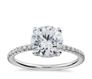 Selling 1.5 Carat Round SI1 French Pave Diamond Engagement Ring