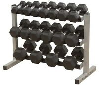 Set 5lb to 50lbs High Grade Rubber Dumbbells + Body Solid Rack