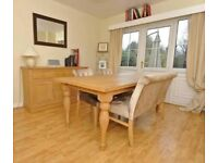 Next Solid Oak Extending Dining Table with Bench and 2 Chairs