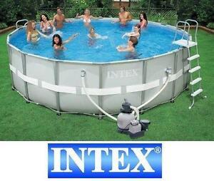 "NEW INTEX 18' x 52"" POOL SET ULTRA FRAME POOL SET SWIMMING KIT INCLUDES LADDER SALTWATER FILTER SAND FILTER SWIM"