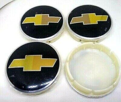 "4X Chevy Wheel Center Hub Caps 63MM 2.5"" Black Gold Logo Camaro Cruze Silverado"