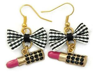 Juicy Lucy Black and White Gingham Bow and Lipstick Earrings