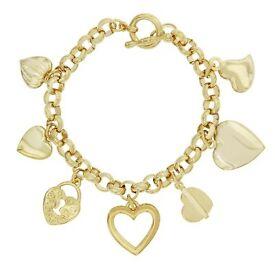 24k gold plated heart charm bracelet