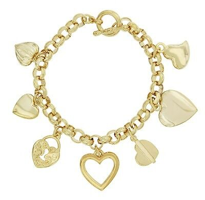 24k gold plated heart charm bracelet