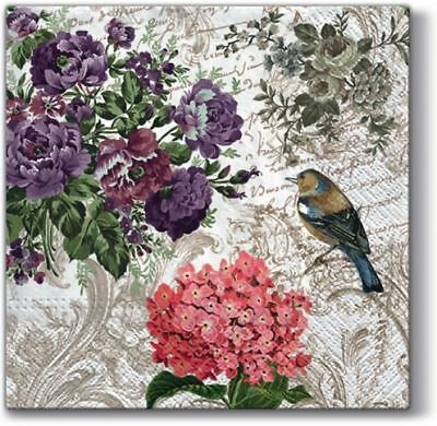 4 x Paper Napkins - Charming Garden - Ideal for decoupage / Napkin Art