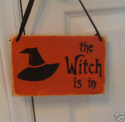 THE WITCH IS IN Door Hanger Rustic Happy Halloween Sign](Happy Halloween Door Sign)