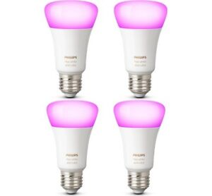 PHILIPS HUE WHITE & COLOUR A19 GEN 3 BULBS ONLY 4 BRAND NEW
