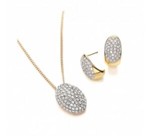 Buckley London Two Tone Pave Pendant and Earrings Set