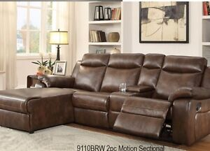 BRAND NEW LEATHER RECLINER SECTIONAL WITH RECLINER CHAIR AND AD