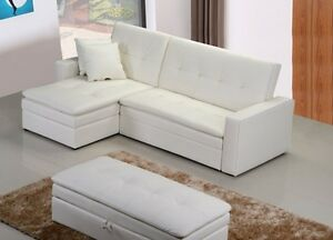 BRAND NEW Amazing leather/Fabric sofa bed, ottoman & 2 Storage