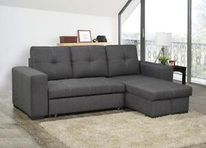 WEEK END SPECIAL *** FABRIC/LEATHER SOFA BED WITH STORAGE