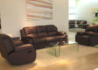 Genuine Leather reclining sofa set with sofa and loveseat
