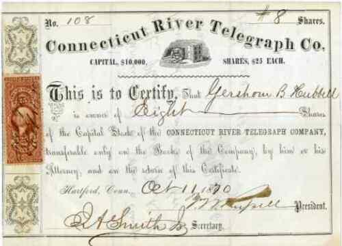 1870 Connecticut River Telegraph Stock Certificate