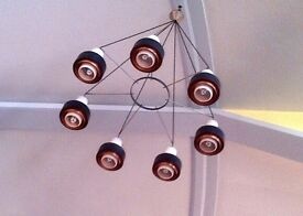 AMAZING HUGE 60S ORIGINAL VINTAGE MID CENTURY MINIMAL DANISH FORMER CHURCH CHANDELIER 7 ARMS/SHADES