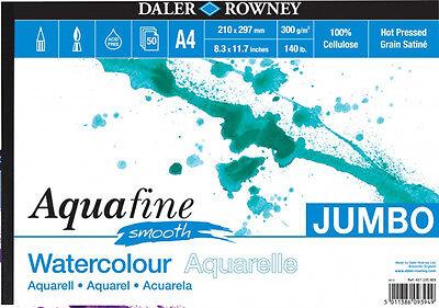 Daler Aquafine Jumbo Watercolour Pad 140lb / 300gsm - A4 Smooth - 50 Sheets