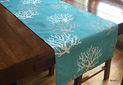 Coastal Blue Coral Reef Table Runner   Home Decor, Parties, Showers   - Coral Table Runner