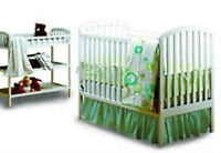 Convertible Crib and Changing Table with Rail