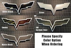 3x Corvette C6 Emblem Overlays Flag decal 5 Color Choice 3d Carbon, Black, Smoke